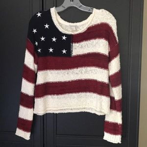 741b0b71fe7d Forever 21. Forever21- L Cropped Knit American Flag Sweater